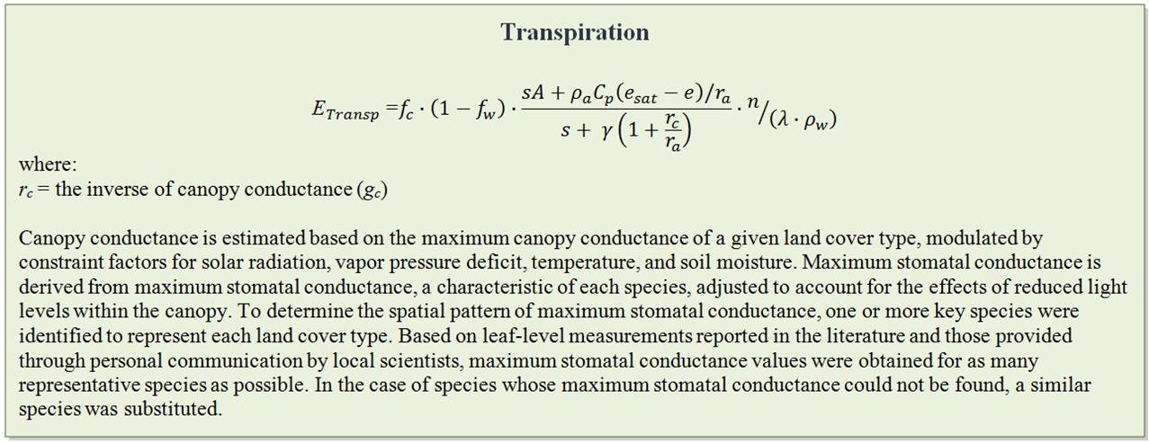 Transpiration Equation